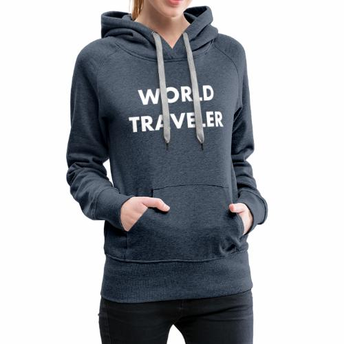 World Traveler White Letters - Women's Premium Hoodie