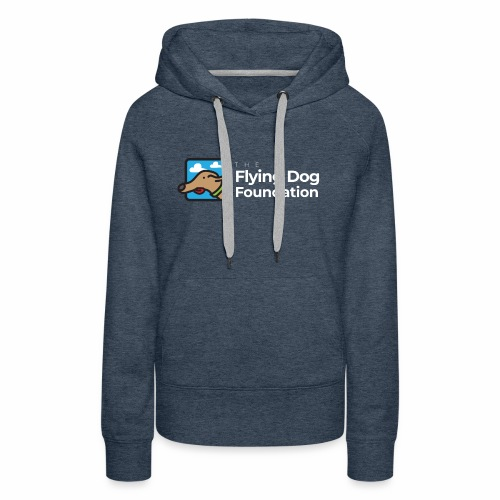 The Flying Dog Foundation Logo - White Font - Women's Premium Hoodie
