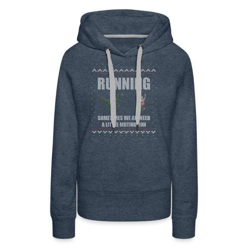 Ugly Christmas Sweater Running Dino and Santa - Women's Premium Hoodie