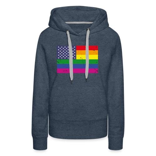 US Rainbow Flag (LGBT Stars and Rainbow Stripes) - Women's Premium Hoodie