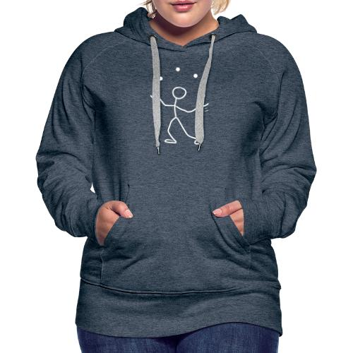 Stickman Juggler White on Dark Shirt - Women's Premium Hoodie