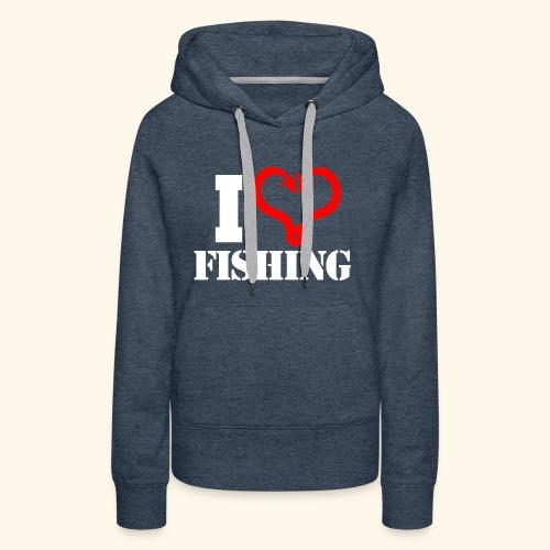 I heart fishing WHITE - Women's Premium Hoodie