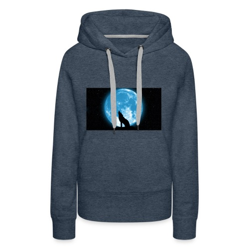 488234 wolf howling at the moon wallpaper 2560x144 - Women's Premium Hoodie