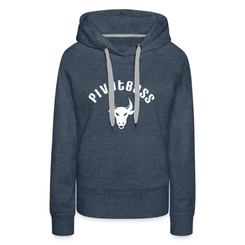 PivotBoss Curved Logo - White - Women's Premium Hoodie