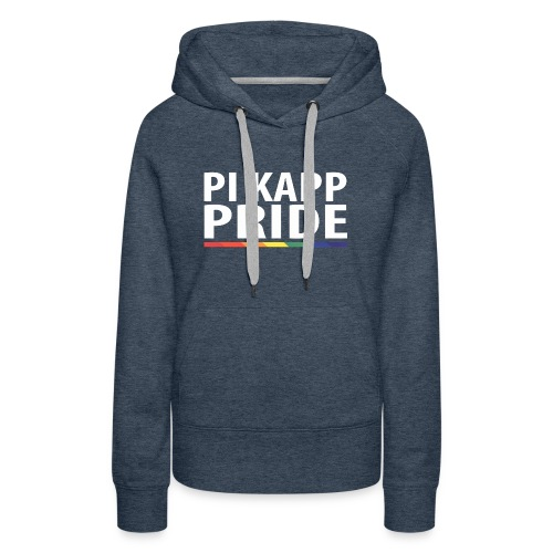PKPride Stacked Design w Rainbow Stripe White Tex - Women's Premium Hoodie