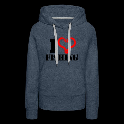 02 I heart fishing BLACK - Women's Premium Hoodie