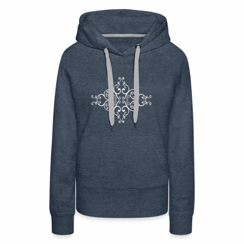 damask ornament no. 01 - white marble texture - Women's Premium Hoodie