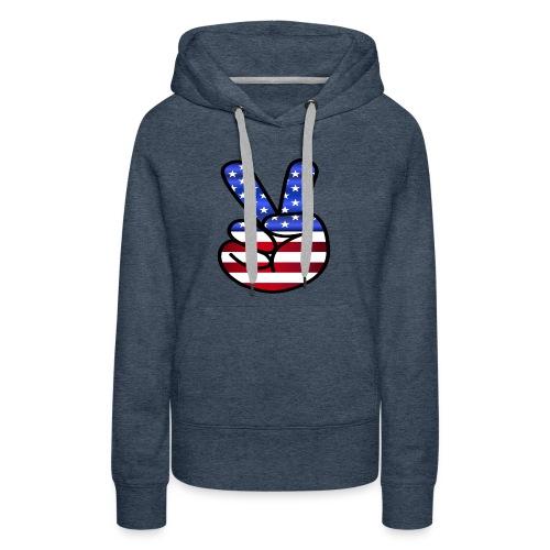 US Flag Peace Hand Sign - Women's Premium Hoodie