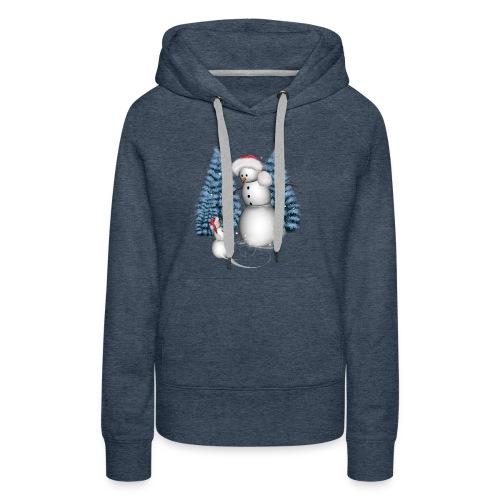 Funny snowman with snow kid - Women's Premium Hoodie