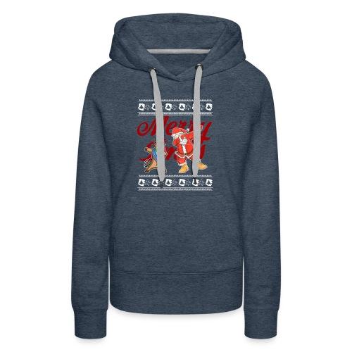 Dabbing Rudolf and Santa Merry Christmas Shirt - Women's Premium Hoodie
