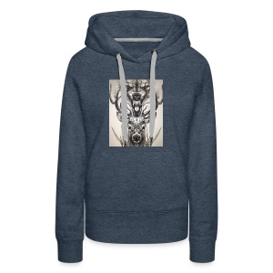 Black Ink Deer And Wolf Head - Women's Premium Hoodie