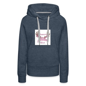 Mommys Girl Tiara with Antlers Hunting Applique Ma - Women's Premium Hoodie