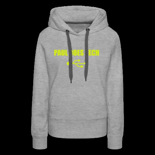 Paul Does Tech Yellow Logo With USB (MERCH) - Women's Premium Hoodie