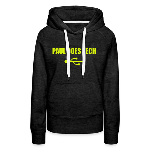 Paul Does Tech Yellow Logo With USB (MERCH) - Women's Premium Hoodie