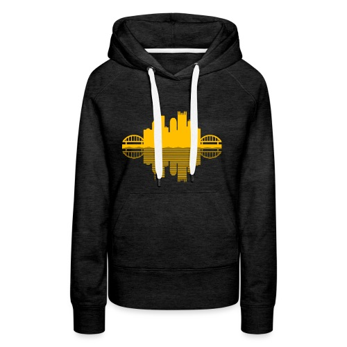 Pittsburgh Skyline Reflection (Gold) - Women's Premium Hoodie