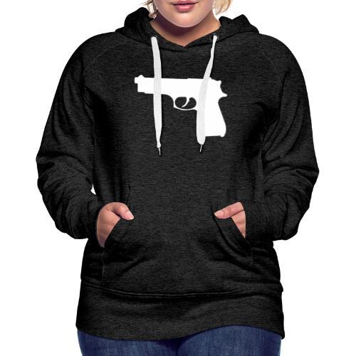 Semi-automatic Handgun Silhouette - Women's Premium Hoodie