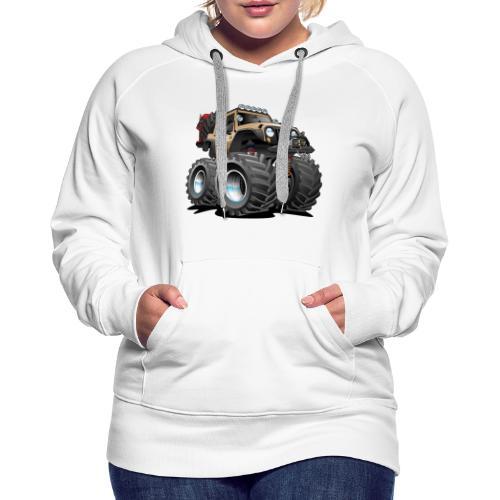 Off road 4x4 desert tan jeeper cartoon - Women's Premium Hoodie