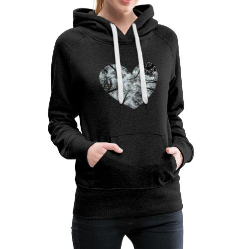 Heart Abstract Black and White Trees - Women's Premium Hoodie