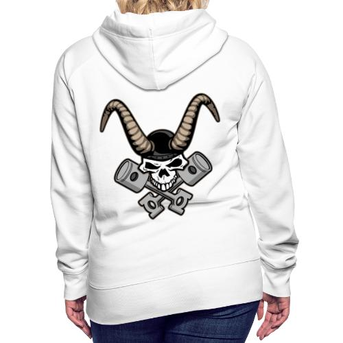 Skull with horns and crossed pistons illustration - Women's Premium Hoodie