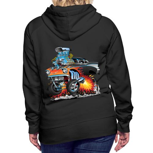 Classic hot rod 57 gasser dragster car cartoon - Women's Premium Hoodie