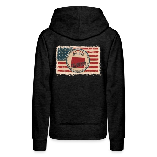 Colorado State Silhouette on Vintage US Flag - Women's Premium Hoodie