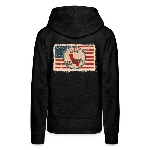 California State Silhouette on Vintage US Flag - Women's Premium Hoodie