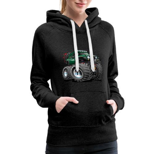 Off road 4x4 green jeeper cartoon - Women's Premium Hoodie