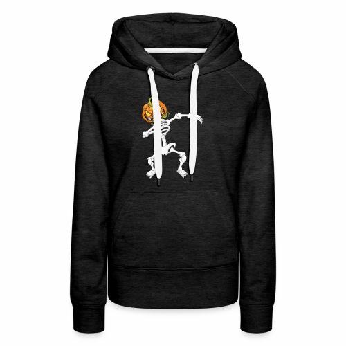 Funny Dabbing Skeleton Pumpkin Halloween T-Shirt - Women's Premium Hoodie