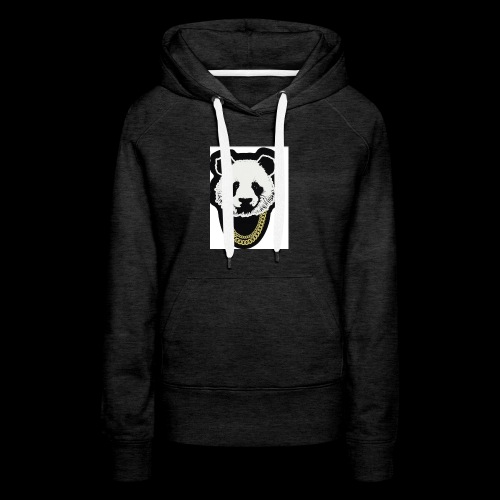 A fly panda with a gold chain - Women's Premium Hoodie