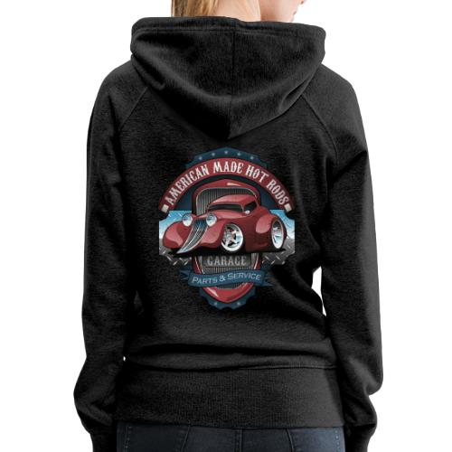 American Hot Rods Garage Vintage Car Sign Cartoon - Women's Premium Hoodie