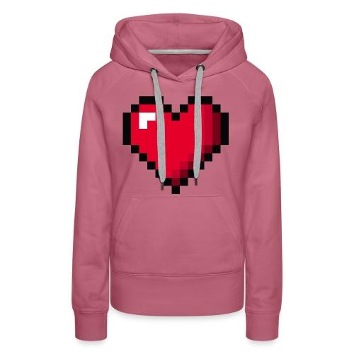Pixel 8 bit Happy Valentine s Day Heart for Gamers - Women's Premium Hoodie