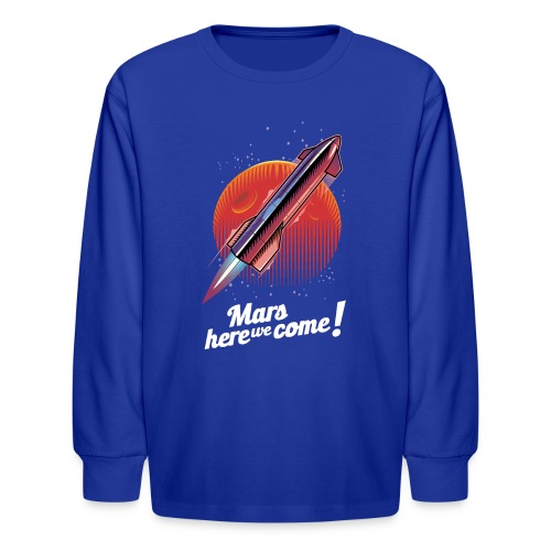 Mars Here We Come - Dark - Kids' Long Sleeve T-Shirt