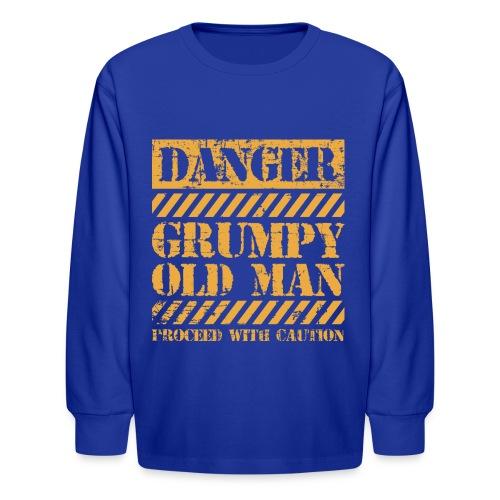 Danger Grumpy Old Man Sarcastic Saying - Kids' Long Sleeve T-Shirt