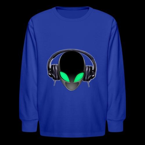 Alien Music Lover DJ (Simplified Fit All Design) - Kids' Long Sleeve T-Shirt