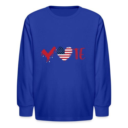 vote heart red - Kids' Long Sleeve T-Shirt