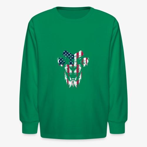 Lovely American Lion USA Flag Silhouette Portrait - Kids' Long Sleeve T-Shirt