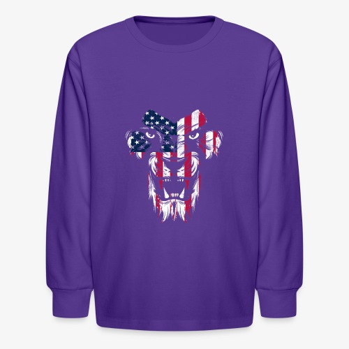 American Flag Lion - Kids' Long Sleeve T-Shirt