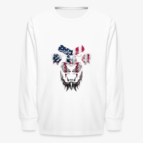 American Flag Lion Shirt - Kids' Long Sleeve T-Shirt