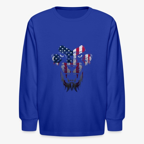 American Flag Lion Shirt - Kids' Long Sleeve T-Shirt