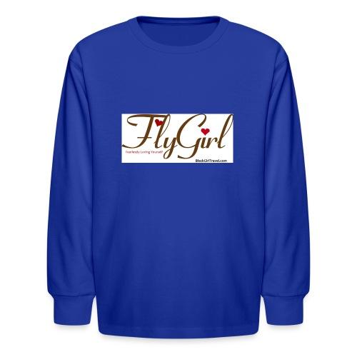 FlyGirlTextGray jpg - Kids' Long Sleeve T-Shirt