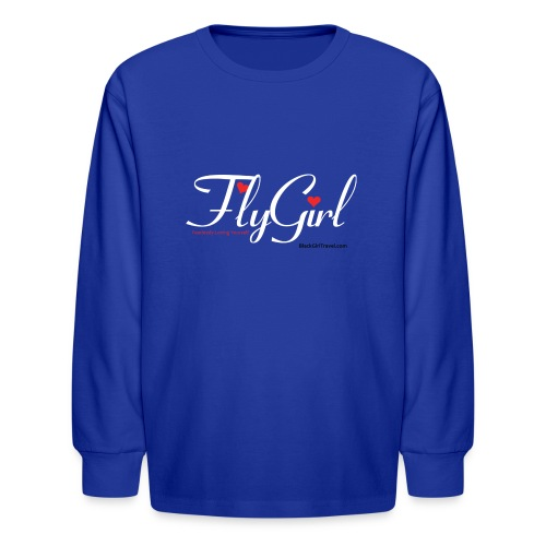 FlyGirlTextWhite W Black png - Kids' Long Sleeve T-Shirt
