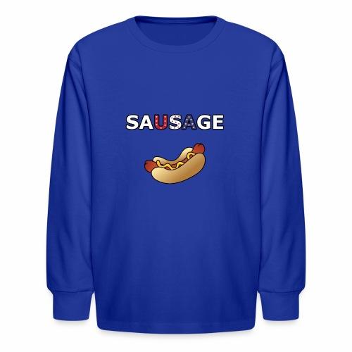 Patriotic BBQ Sausage - Kids' Long Sleeve T-Shirt