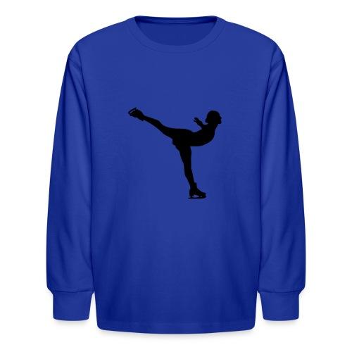 Ice Skating Woman Silhouette - Kids' Long Sleeve T-Shirt