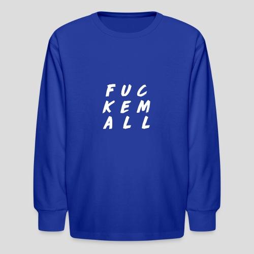 FUCKEMALL White Logo - Kids' Long Sleeve T-Shirt