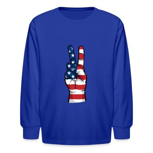 hand peace sign USA T small - Kids' Long Sleeve T-Shirt
