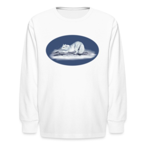 Arctic Fox on snow - Kids' Long Sleeve T-Shirt