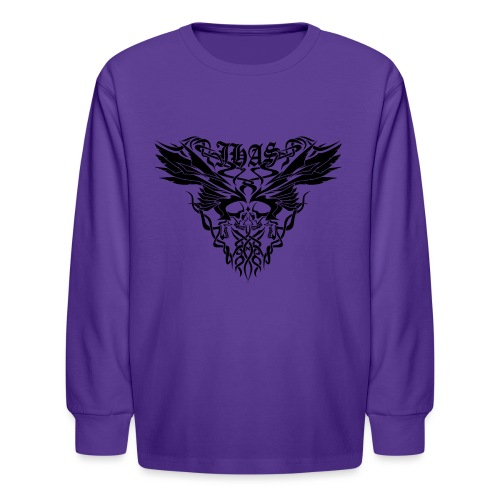 Vintage JHAS Tribal Skull Wings Illustration - Kids' Long Sleeve T-Shirt