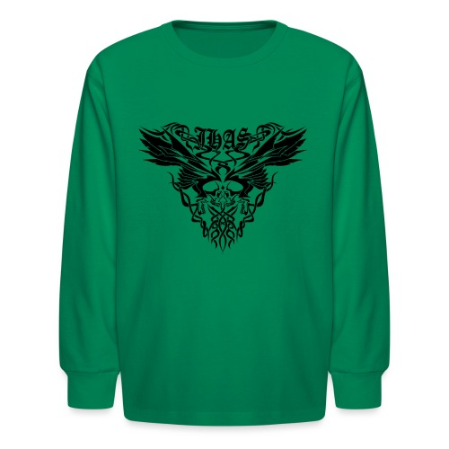 Vintage JHAS Tribal Skull Wings Illustration - Kids' Long Sleeve T-Shirt
