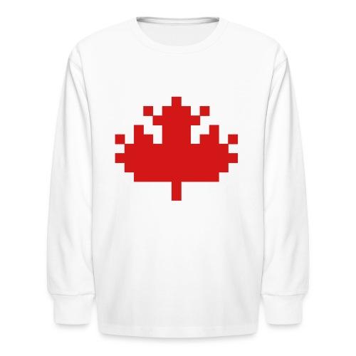 Pixel Maple Leaf - Kids' Long Sleeve T-Shirt
