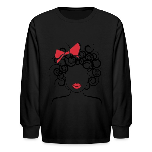 Curly Girl with Red Bow_Global Couture_logo T-Shir - Kids' Long Sleeve T-Shirt